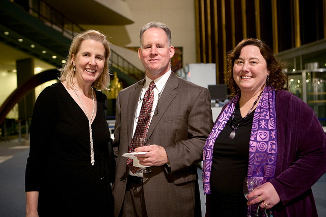 Sarah Craven, from the UNFPA Washington office, with Dick Wilbur and Alison Wilbur, the founder of Quilt for Change and a co-sponsor of the UN exhibition.