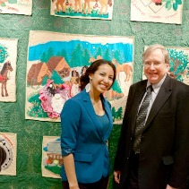 Chief docent Jenine Rivera and Professor Hank Kaplowitz watched over the quilt exhibition during most of 2013.