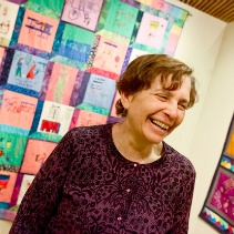Susan Louis assembled the Sixth Love Blanket at her home and then saw it displayed at Kean.