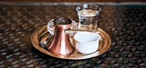 If you're getting really traditional, your coffee will be served like this. While it may appear to be Turkish coffee, do not call it Turkish coffee. It is Bosnian coffee.
