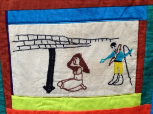 The finished product: This square shows a woman being flogged by a Jihadist in 2012.