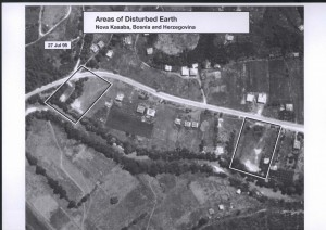 "Satellite images like this were used to identify patches of ""disturbed earth"" and find where bodies could've been hidden. Source: ICTY; U.S. National Geospatial Intelligence Agency; National Security Archive."