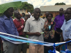 Local Council Chairman Mr Okumu Luriu Speaking at the Ribbon Cutting Ceremony