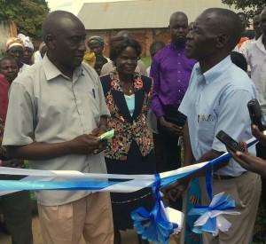 Local Council Chairman Mr Okumu Luriu Thanking GDPU Chairman Ojok Simon for the Project at Tochi