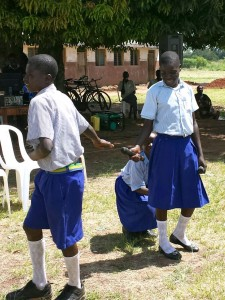 Three Students in a Drama Presentation on Inclusion of Children with Disabilities in School