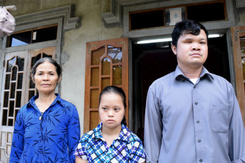 Mrs. Duong Thi An, youngest daughter Hoa and son Huong. Their older brother, Hai, is also affected by Agent Orange. He was away when we came.