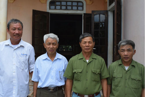 From left to right: Mr. Thuan (outreach worker), two local representatives of Agent Orange support groups, Mr. Xoan