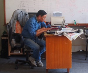 Prakash hard at work at the CONCERN-Nepal Office.