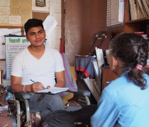 Sundar doing an interview at a school in Bhaktapur.