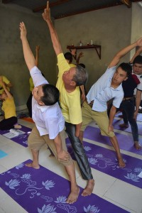 Mr. Thuan at a yoga training for PWDs.