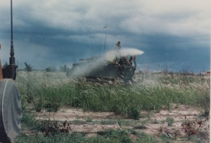 A US Army APC spraying Agent Orange during the Vietnam War.
