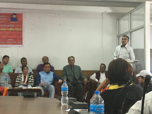 Mr. Eak Raz Bhandari; lawyer and father to Bipin Bhandari gives opening remarks.