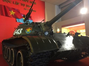 A North Vietnamese tank on display at the Vietnamese Military History Museum in Hanoi.