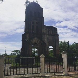 The ruins of Tam Toa Church, destroyed by a bombing raid, in the center of Dong Hoi.