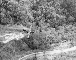 A US plane spraying Agent Orange in Vietnam during the Vietnam War. Courtesy National Museum of the US Air Force.