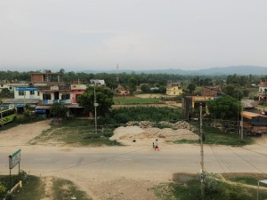 Our view of the mountains and of Bardiya from our hotel balcony.