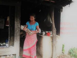 Sarita's mum, making some tea