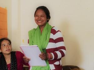 Sima Tharu, gives a speech as the newest secretary.