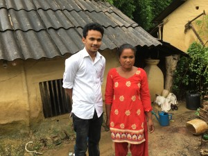 Prabal and Sharadha, chairman of the Bardiya Tiger Cooperative at her home in Bhasgadi, Bardiya.